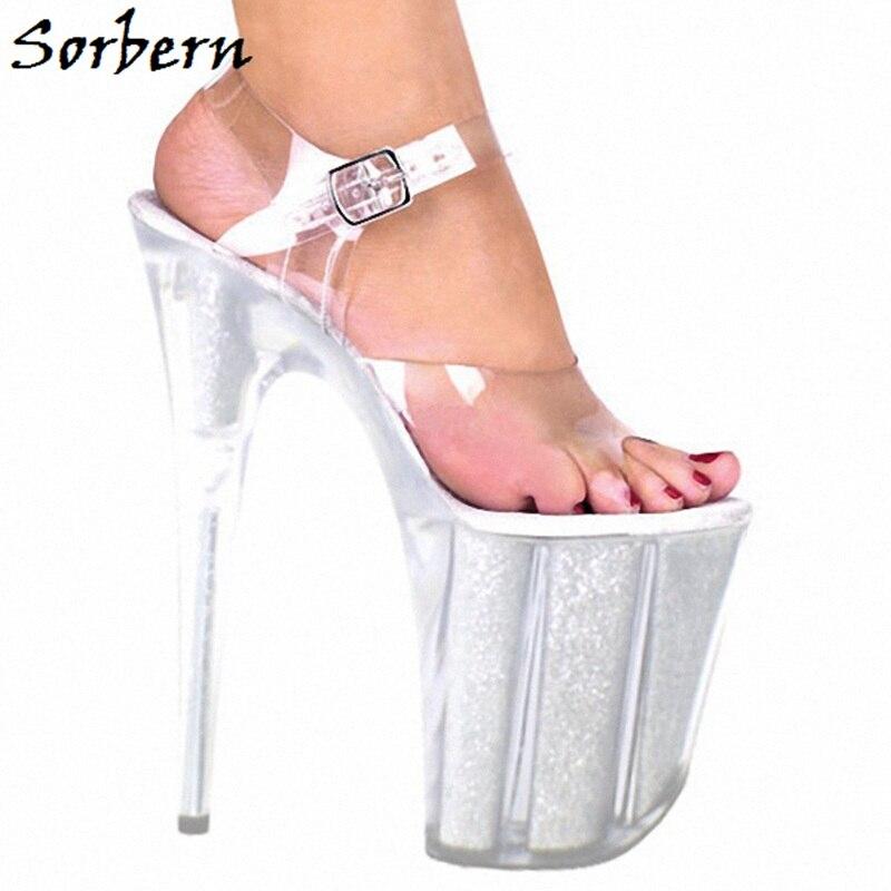 Sorbern Clear Pvc Ankle Strap Sandals Summer Shoes For Ladies Custom Color Designer Brand 2019 High Fashion Sandals Platform