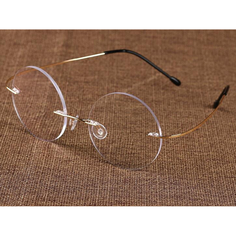303aac563e Detail Feedback Questions about Vintage Round Memory Titanium Rimless  Flexible Eyeglass Frames Myopia Men Women Glasses Spectacles Rx able Super  Light on ...
