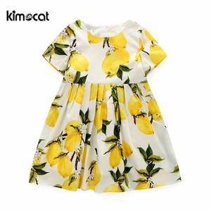 Kimocat Summer Girls Lemon printing princess dress Pure cotton lining Short Sleeve Cute Kids Children's Clothing Girl dresses(China)