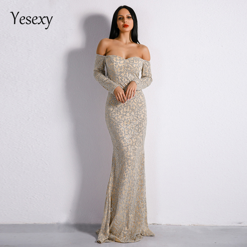 Yesexy 2019 Sexy Bra Long Sleeve Off Shoulder Dresses Glitter Maxi Elegant Dress VR8688