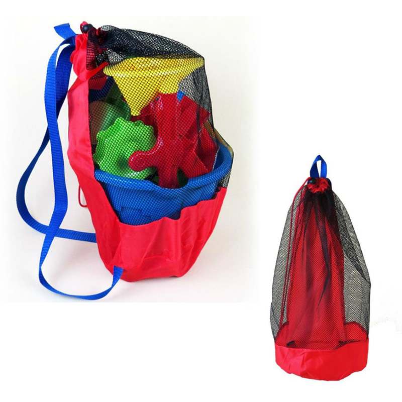 Portable Beach Bag Foldable Mesh Bag Baby Digging Hourglass Shovel Tool Mesh Bag For Children Clothes Towels Toy Backpacks