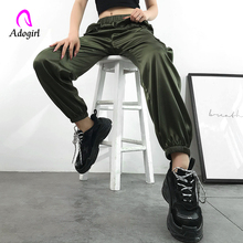 Fitness Women Joggers Casual High Waist Satin Cargo Pants Harajuku Green Baggy Loose Trousers Summer Work Out Sweatpants