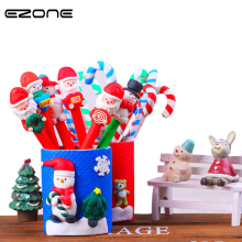 EZONE 1PC Christmas Pen Children Kids Students Gift Prize Snowman Ball Pen Random Color Cute Walking Stick Shape Pen Pencil Vase