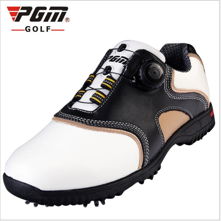 PGM patent Golf Shoes Mens waterproof 2015 golf shoes men brand Leather shoes laces activities nail automatic revolving spikes branded polo authentic golf mens gun bags waterproof pu golf travel bags club8 9 small golf bag big capacity bolsas golf mujer