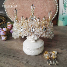 HIMSTORY Wedding Bridal Prom Princess Clear Crystal Rhinestone Pearl Tiaras Crown Hairband Bridal  Wedding Crown Hairwear