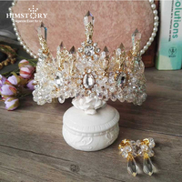 HIMSTORY Wedding Bridal Prom Princess Clear Crystal Rhinestone Pearl Tiaras Crown Hairband Bridal Wedding Crown Hairwear