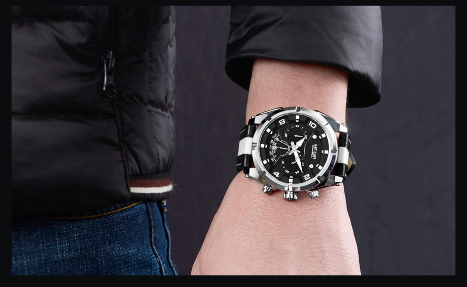 Topdudes.com - MEGIR Military Style Quartz Chronograph Sports Wristwatches with Fashionable Leather Band