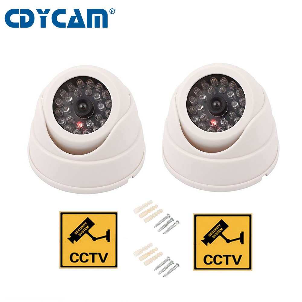 CDYCAM 2PCS(1 bag)Fake Dummy Camera Dome Waterproof Outdoor Indoor Dome Security CCTV  Security Camera with LED Sensor Light white black dummy camera fake dome cctv camera indoor outdoor red led flashing light for home security for christmas
