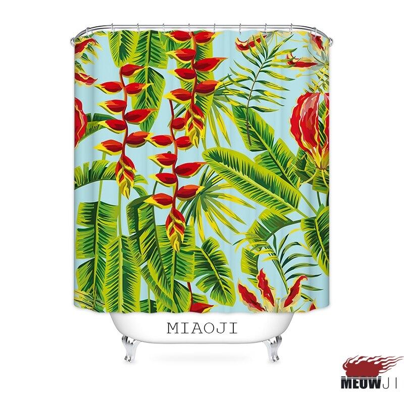 [MIAOJI] Aromas Tropical Plants Hawaii Summer Style Fabric Shower Curtain Bathroom Decor Curtain various sizes Free Shipping