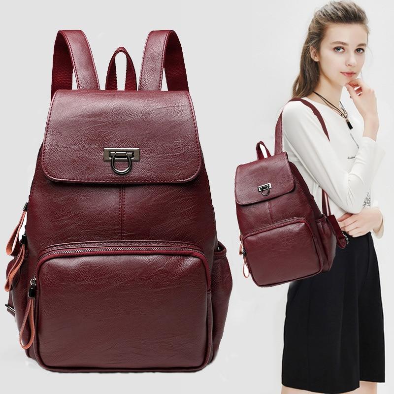 MIWIND Women Backpack Genuine Leather Backpacks Softback Bags Brand Name Bag Sheepskin Backpacks Girls Backpack