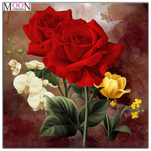 MOONCRESIN 5D Diy Diamond Painting Cross Stitch Red Rose & Yellow Butterfly flowers Diamond Mosaic Full Round Diamond Embroidery mooncresin 5d diy diamond painting cross stitch red rose 3d diamond embroidery needlework diamond mosaic full decoration flowers