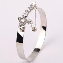 New Crystals Bracelet Gold Silver Charm Bracelets & Bangles For Women Fashion Jewelry Wristband VB230 P40(China)