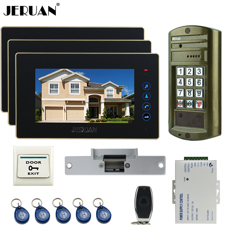 JERUAN Wired 7 inch TFT Video Door Phone Intercom System kit waterproof password keypad HD Mini Camera +Electric Strike lock 1V3 jeruan 8 inch tft video door phone record intercom system new rfid waterproof touch key password keypad camera 8g sd card e lock