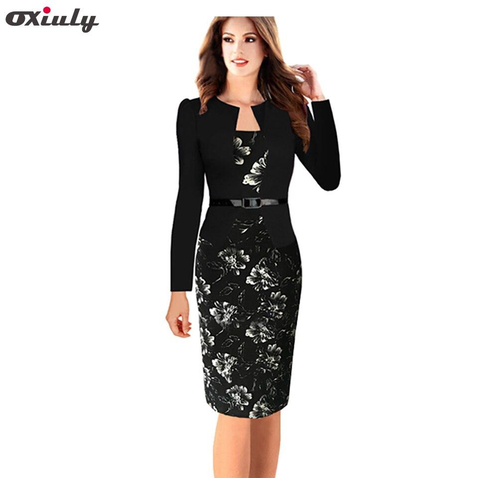 67c8865b048ab Oxiuly Plus Size S-4XL One-piece Faux Jacket Brief Elegant Patterns Work  Dress Office Bodycon Female Sheath Pencil Dress