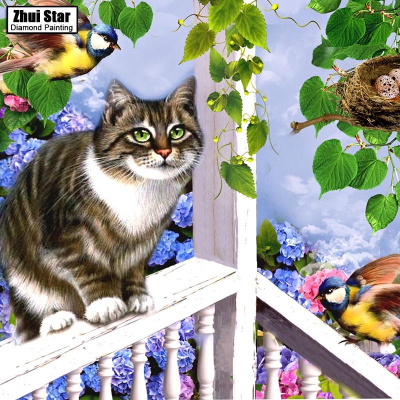 Cat 5D DIY Diamond Painting Embroidery Needlework Mosaic Home Decor Gift