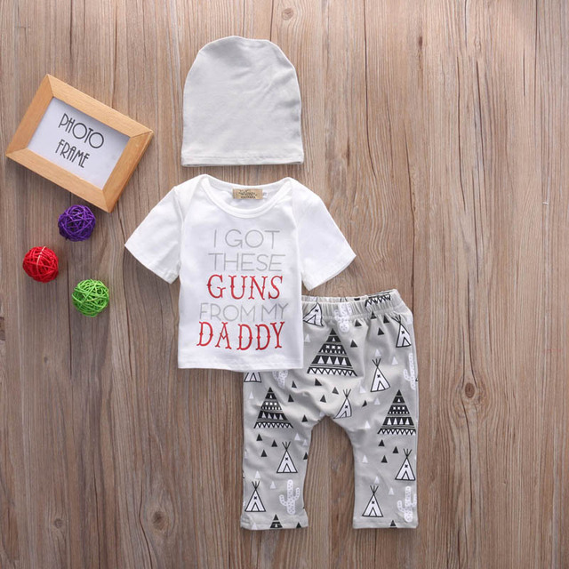Baby Boy Letter White Short Sleeve T-shirt with Tent Patterned Pants and Hat Sets