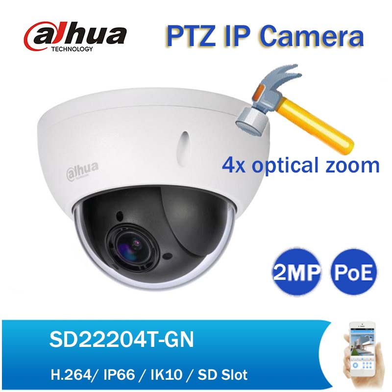 Original Dahua DH-SD22204T-GN 2mp Mini PTZ IP Camera 1080p Full HD 4x Zoom PoE Network Speed Dome IP Camera with Logo dahua 2mp full hd 20x network ptz dome camera ip67 vandalproof poe without logo sd60220t hn