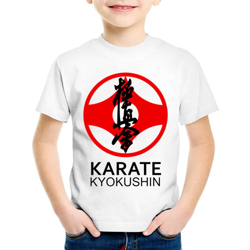 Children Fashion Print Kyokushin Karate Kanji And Symbol T-shirts Kids Summer Tees Boys/Girls Tops Baby Casual Clothes