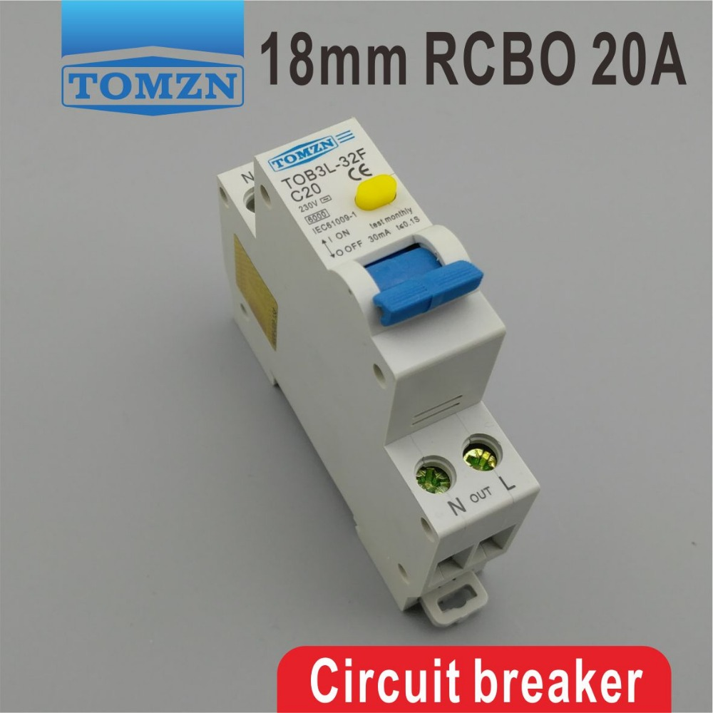TOB3L-32F 18MM RCBO 20A 1P+N 6KA Residual current Circuit breaker with over current and Leakage protectionTOB3L-32F 18MM RCBO 20A 1P+N 6KA Residual current Circuit breaker with over current and Leakage protection