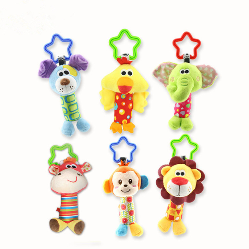 Happy Monkey Baby bed Car hanging Rattle Stick Stuffed Plush Doll Toy Toys Puzzle Bell Ring Infant Animal toy for children Gifts