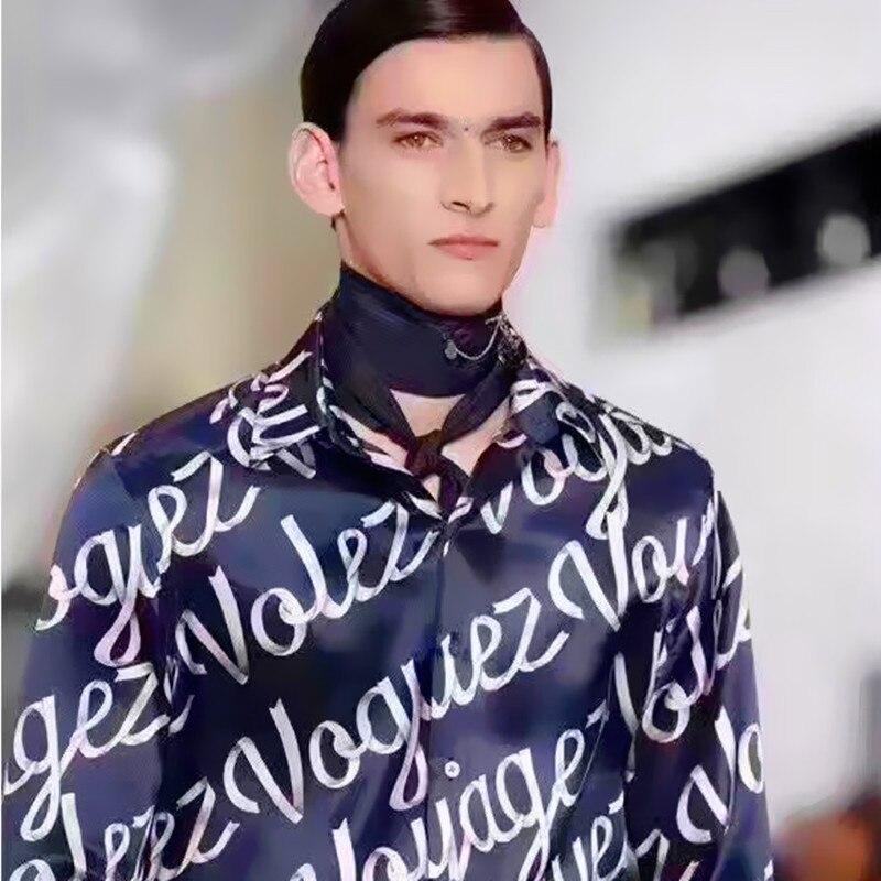 2019  New Silk Printed Shirt For Men Slim Long Sleeve Shirt   M-3XL! Fashionable Printed Men's Shirt