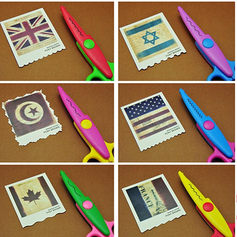6pc/lot Children Kids Paper Craft Scissors 6 Cutting Patterns Curved Edges DIY Decorative Scissor For Scrapbook Album Photos