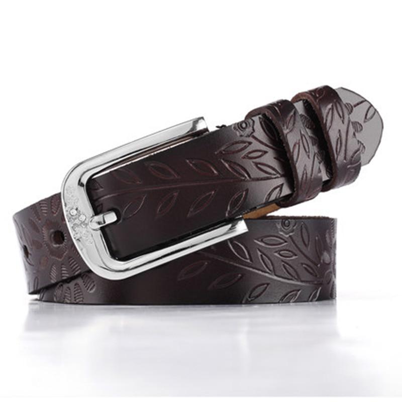 VOHIO Fashion designer 100% ceinture en cuir femmes fleur ceinture 130 cm avec diamant clouté jeans 2.8 cm de large ceinture noir blanc cassé