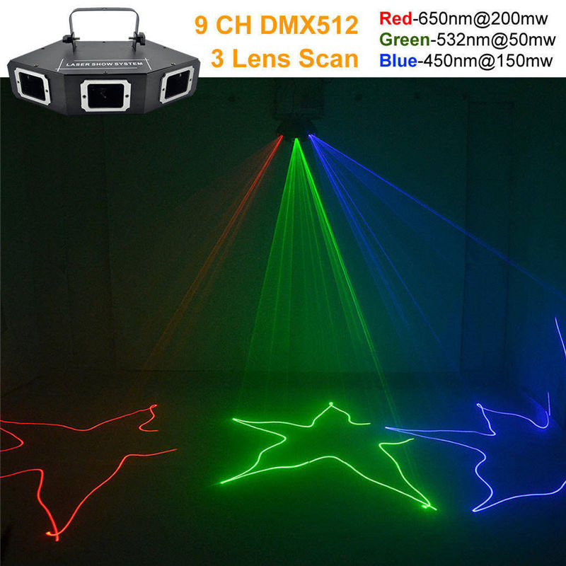 все цены на AUCD DMX 3 Lens RGB Red Green Blue Beam Optical Network Laser Light Home PRO DJ Show KTV Scanner Club Stage Lighting A-X3