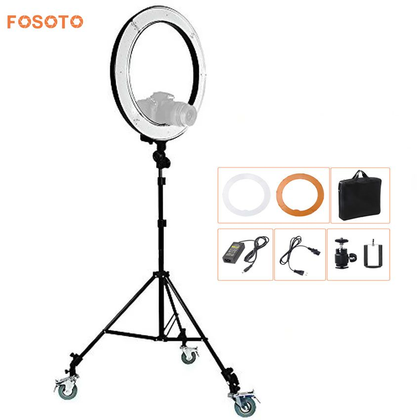 fosoto RL-18 Photography Lighting Video Studio Digital photo Camera & stand &3 Wheels Kit 5500K Dimmable240 LED Ring Light Lamp latour 2400 led photography lighting dms 5600k studio video camera stage light lamp