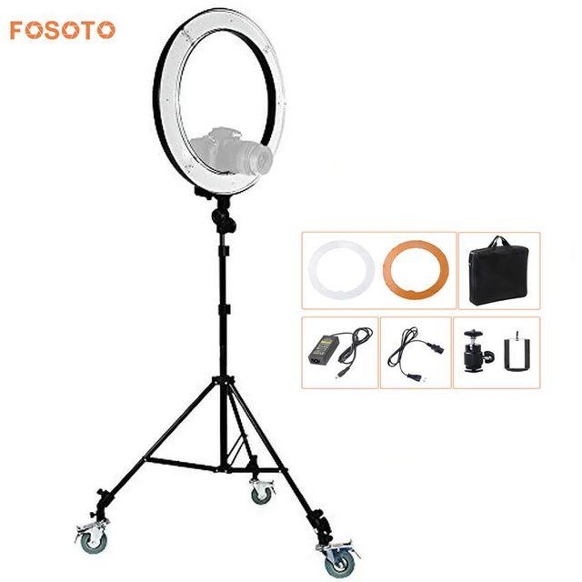 fosoto RL-18 Photography Lighting Video Studio Digital photo Camera & stand &3 Wheels Kit 5500K Dimmable240 LED Ring Light Lamp
