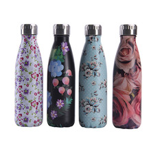 Flower pattern Water Bottle BPA Free New Creative Colorful Stainless Steel Portable Tea Flask Cup Gift