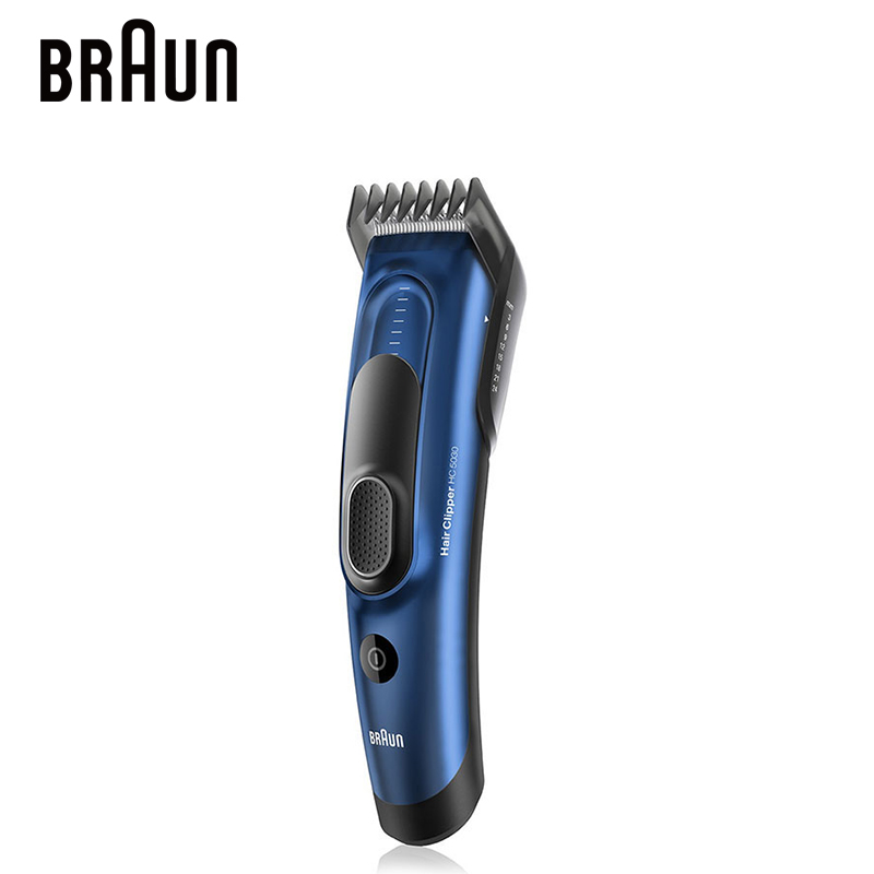 Braun HC5030 Hair Clipper Dual Batteries Corded or Cordedless 2 Dedicated Combs 17 Precise Length Setting 100-240V LED Indicator