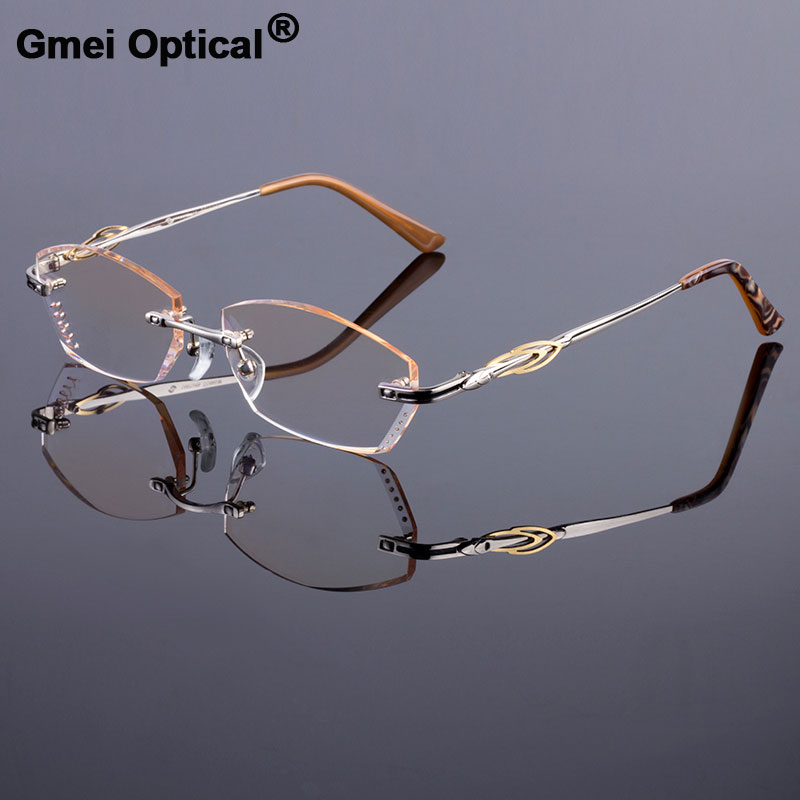 f0b54eb4d99 Deluxe Women Style Frame Luxury Titanium Alloy Optical Frame Diamond  Trimming Cut Rimless Spectacles With Gradient Tint Lenses-in Eyewear Frames  from ...