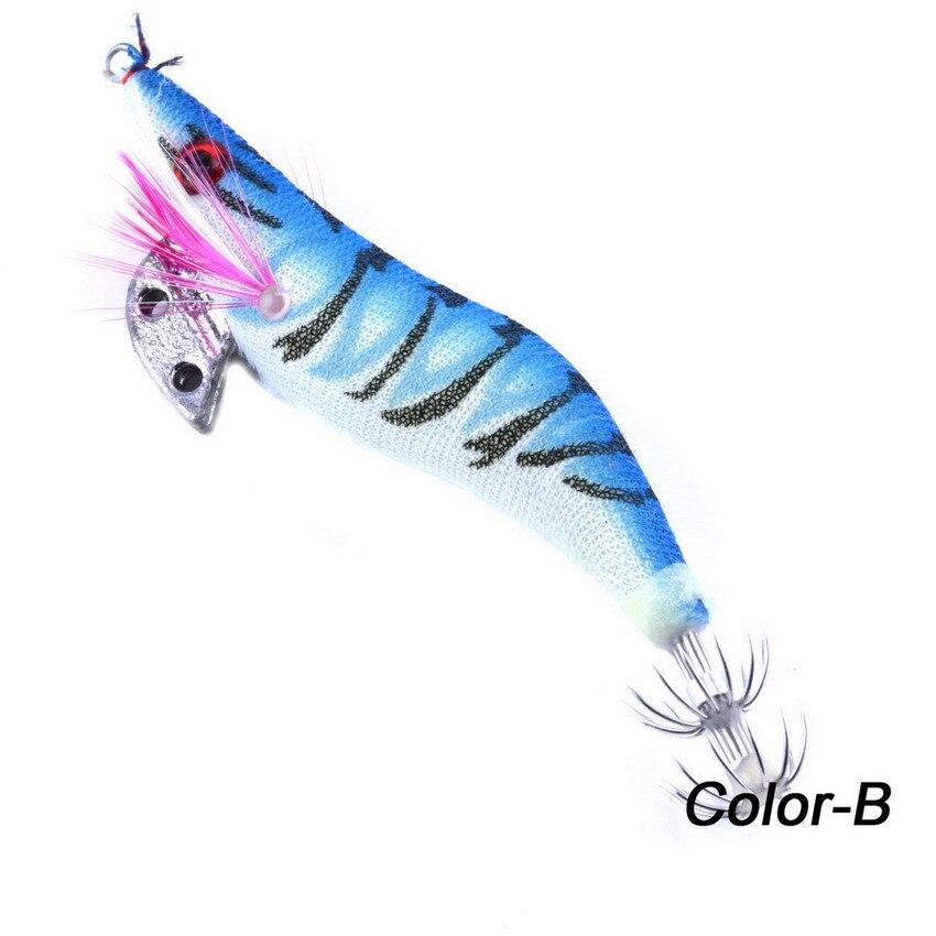 1PCS 11g/10cm Luminous Squid Jig Fishing Wood Shrimp Lure Squid Cuttlefish Jigs Lures Spinnerbait Wood Shrimp with 2.5# Hook цены