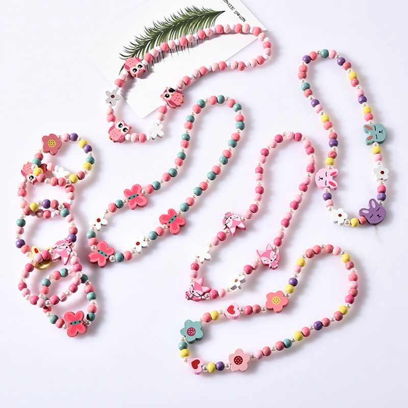 קריקטורה ארנב בעלי החיים פרח עץ חרוזים בנות תכשיטי סט ילדים ילדי בנות שרשרת צמיד סט מסיבת יום הולדת תכשיטי מתנה