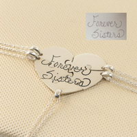 925 Sterling Silver Heart Puzzle Necklace 5 Pieces Engraved Handwriting BFF Necklace Set Memorial Gift