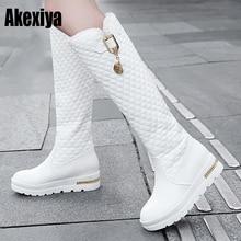 Г., новые женские сапоги до колена модная женская кожаная обувь на резиновой подошве с круглым носком на квадратном каблуке зимняя обувь черного цвета