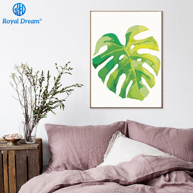 Framed Nordic Oil Painting By Numbers On Canvas Green Leaf Poster Hand Painted Paint By Number Kits for Adults