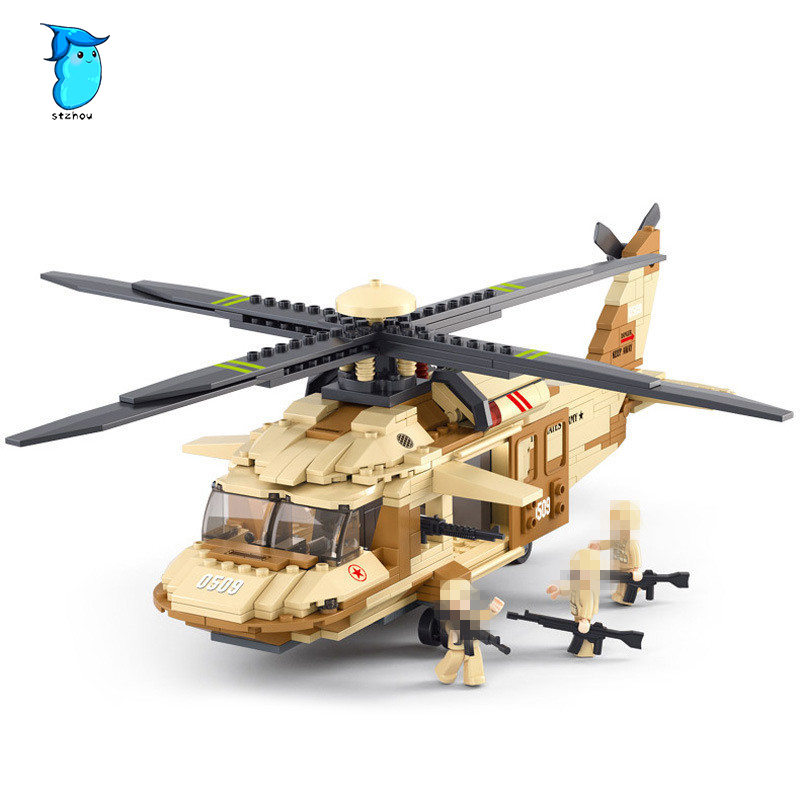 439pcs Model building kit compatible with Military legoe Battle helicopter 3D block Educational model building toys for children sluban 0372 block compatible legoe aviation city aircraft repair shop model 596pcs educational building toys for children