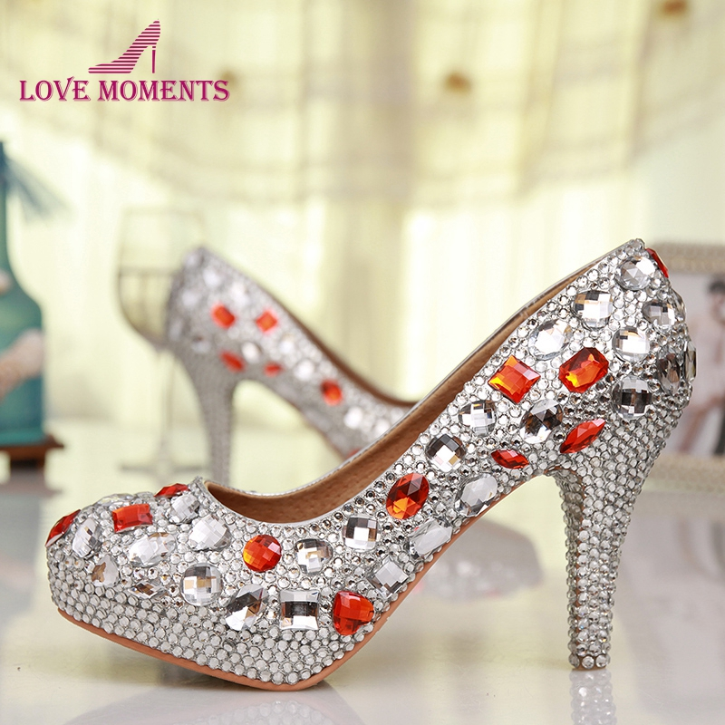 Free Shipping Luxury Handmade Silver Rhinestone Red Crystal Wedding Shoes Round Toe High Heel Bridesmaid Shoes Prom High Heels free shipping sparkly silver crystal and rhinestone high heels with spikes ultra high heels shoes for wedding party prom