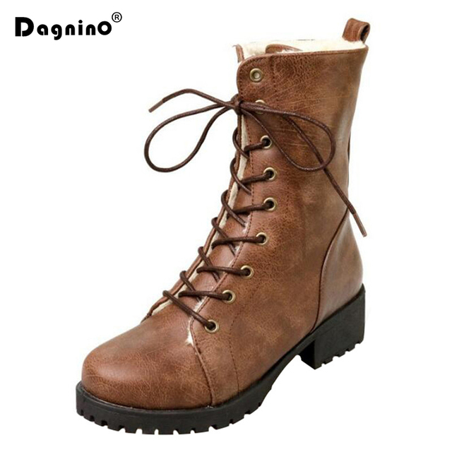 DAGNINO 2019 Women Snow Boots Winter Warm Black Shoes Fashion Ankle Boots With Thick Plush Inside Woman's Boots Plus Size 35-43