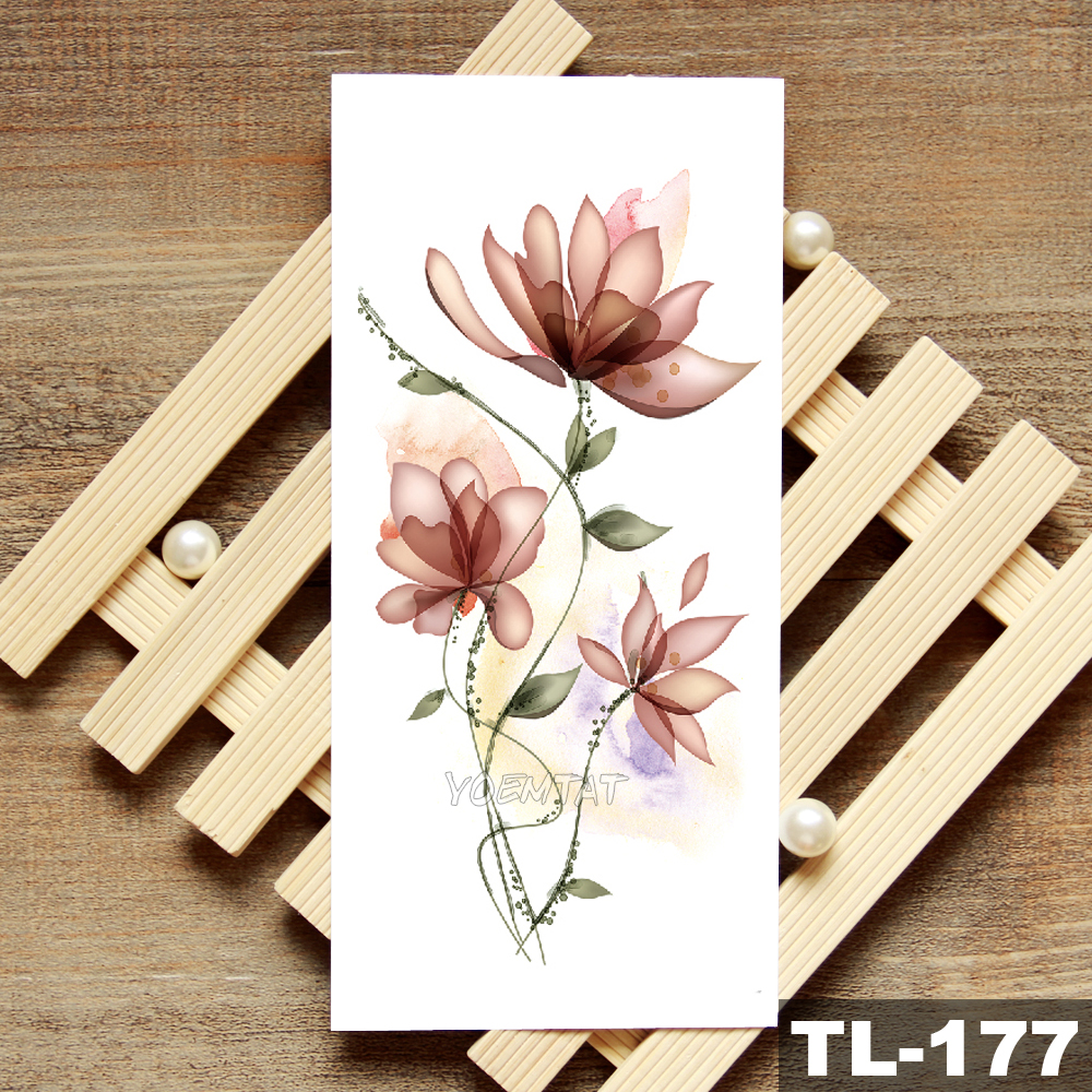 Lotus Peony Rose Flowers Waterproof Temporary Tattoo Sticker  Minimalist Flash Tattoos Body Art Fake Arm tatoo Women 1