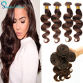 Brazilian Virgin Hair human Body wave extensiosn 4 bundles deal Brazilian wavy Human Hair #4 Light Brown UK peerless hair
