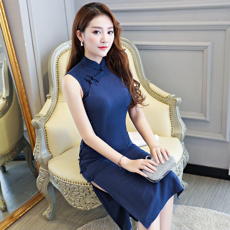 Mode Elegantes M Xxl Knie Leng Qipao 12946 Chinesische Xxxl 8504 Neuheit Kleid L Weibliche Cheongsam Vestidos Gre XL Frauen 8503 Polyester S 8505 TFKJ3l1c