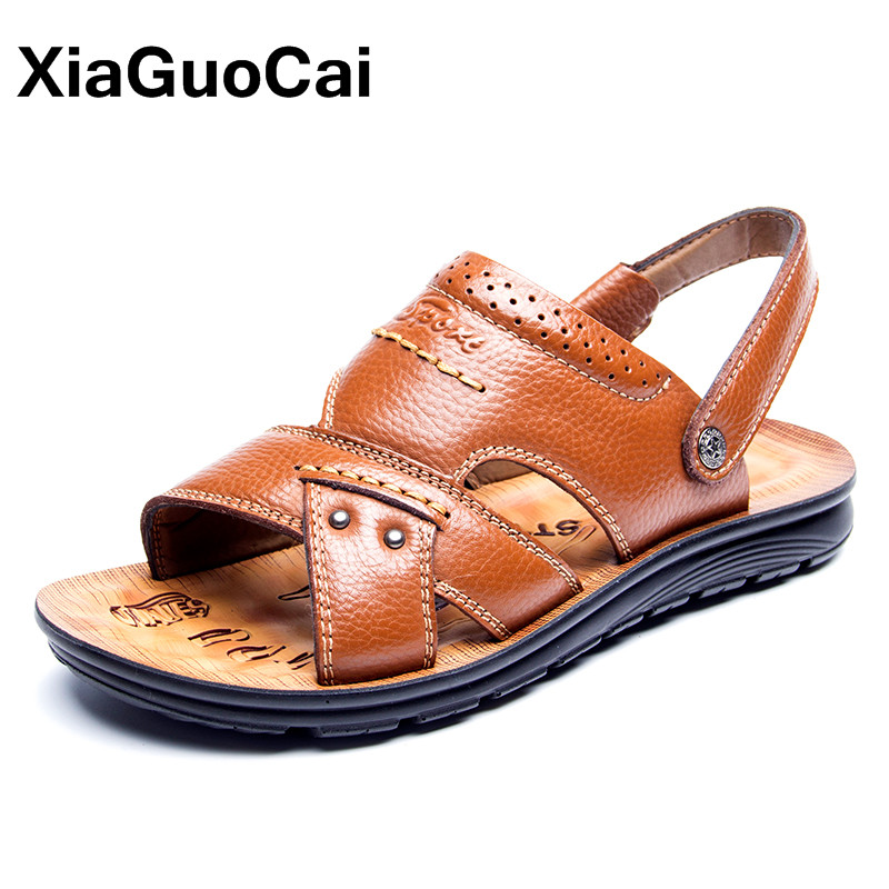 Message Mens Beach Sandals Genuine Leather Breathable Summer Men Shoes Antiskid Fashion Slides Mules Dropshipping Mans Footwear