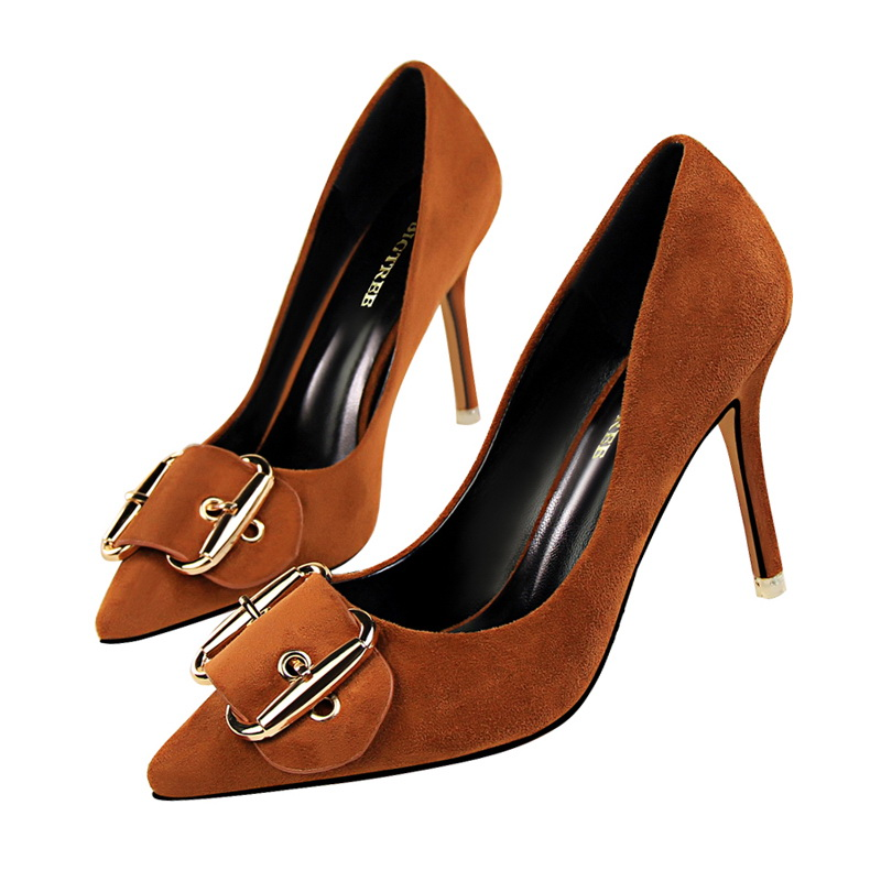 Classic Buckle Women Thin High Heels Pumps Lady' Sexy Pointed Toe Elegant Wedding Shoes Light Tan Color for Party and Nightclub lady s pumps high thin heel spike heels mixed colors metal buckle elegant concise women wedding shoes 2015 high heels