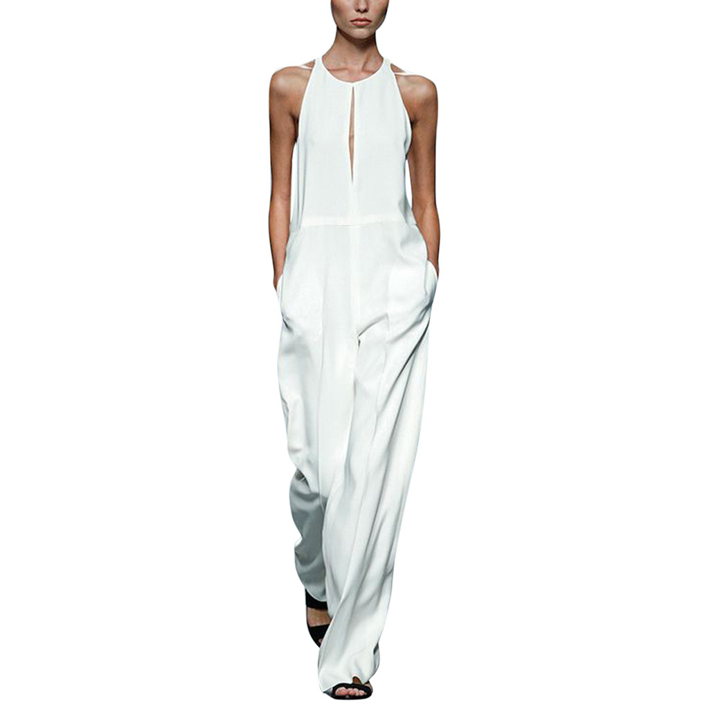 Fashion Modis Women Sleeveless Plain Wide Leg Cotton Linen Long Playsuit   Jumpsuit   Solid Party Night Work Office Formal Overalls