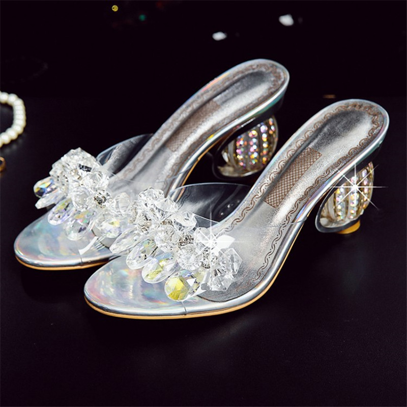 À Chaussures Themost Diapositives Paillettes Transparent Talons Cristal Hauts Silver En Plein Femmes D'été Femme Tissu De Pantoufles Air Bqw85