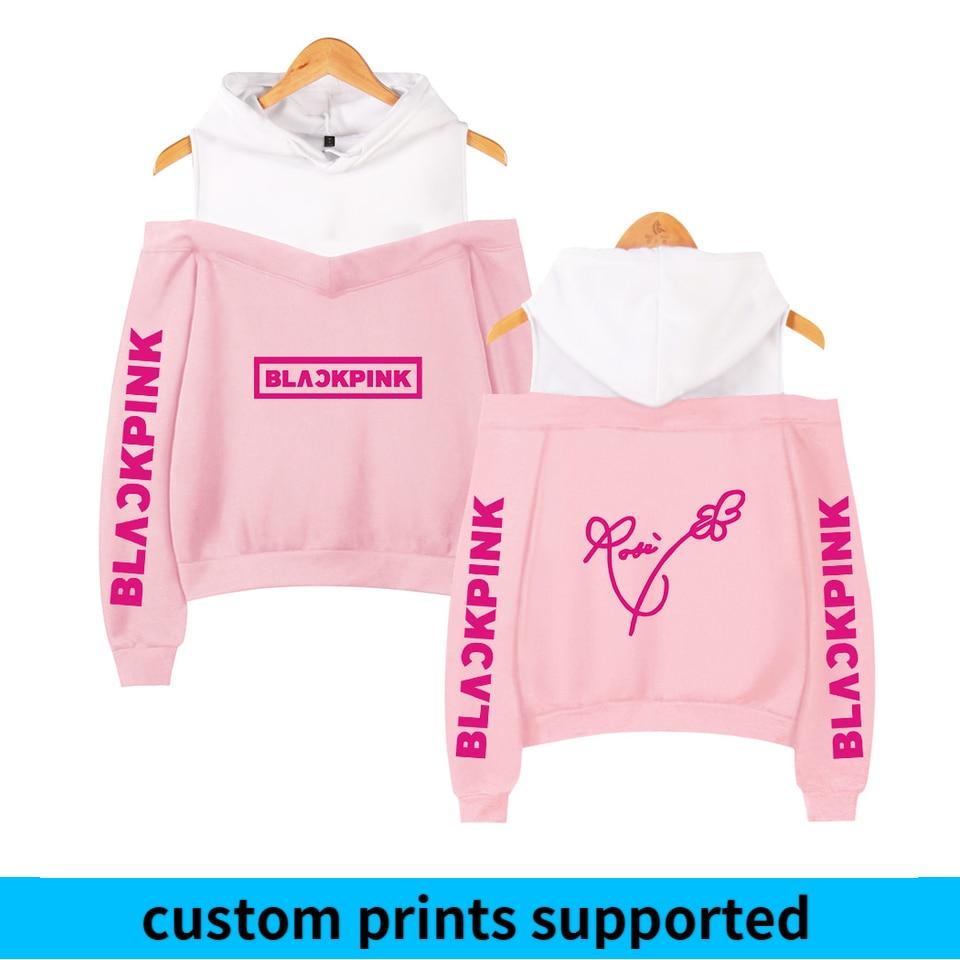 Frdun Tommy BLACKPINK In Women's Off-shoulder Sexy Girls Hoodies Sweatshirt Exclusive Kpop Casual Autumn Cool Hoodies Custom