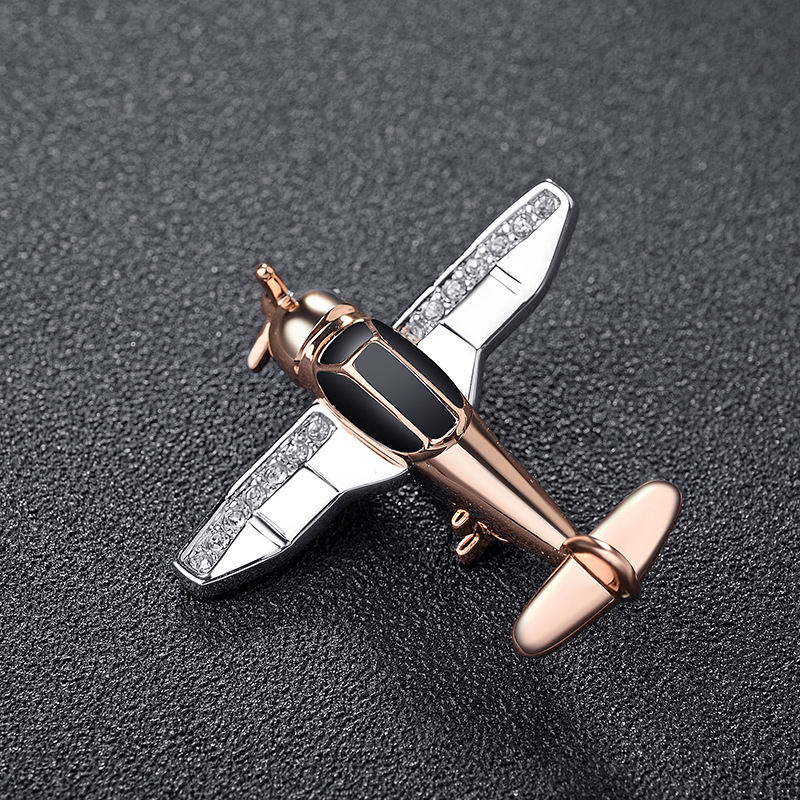 d7f3d8b5b4 Men Top Simple Crystal small aircraft Brooch Women Rhinestone Pin High  Quality Wedding Party Gift airplane Brooches H1280